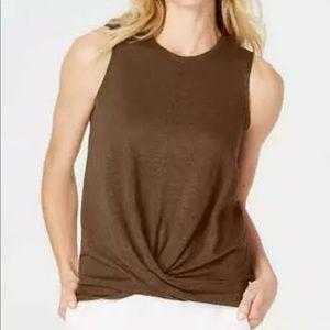 J. Jill linen knit draped front sleeveless top